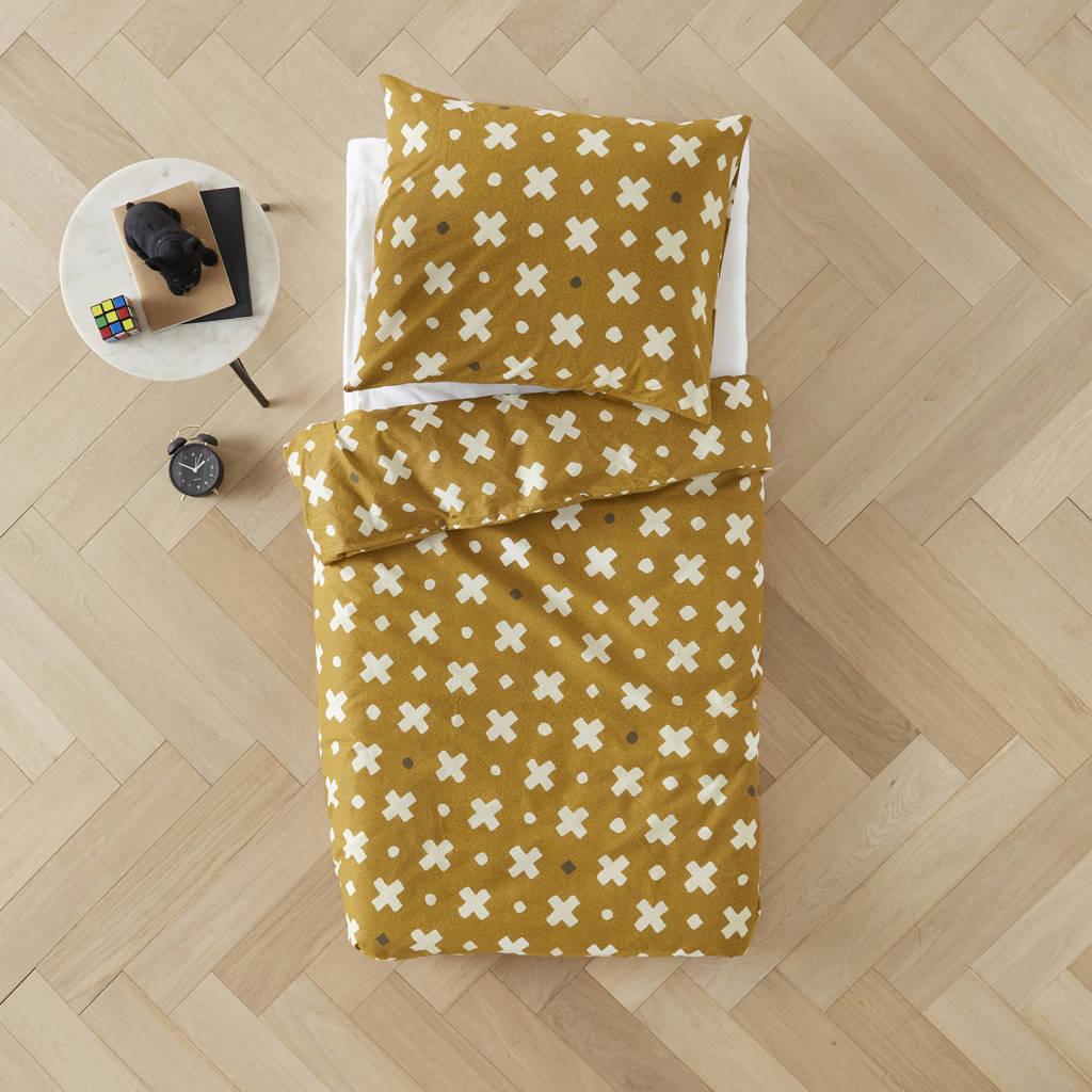wehkamp home katoenen dekbedovertrek peuter, Peuter (120 cm breed), donker okergeel, wit