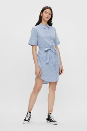 gestreepte blousejurk PCTAMPA lichtblauw
