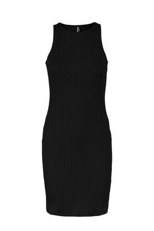 ribgebreide jurk PCTIANA zwart