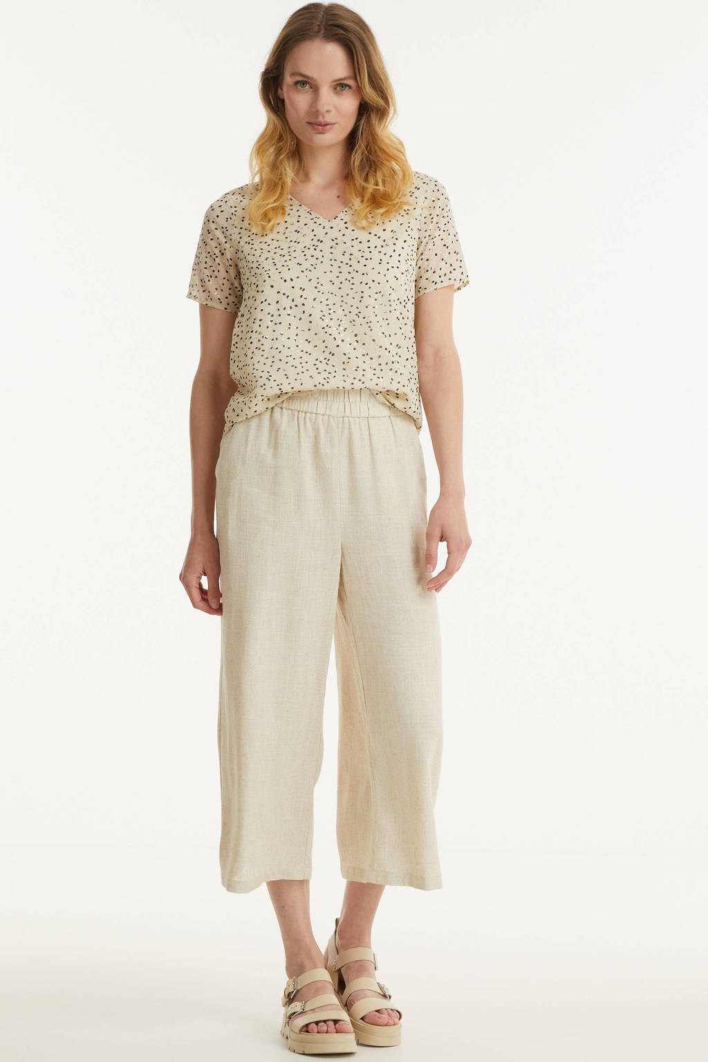 PIECES gemêleerde cropped high waist loose fit broek PCTONI HW CULOTTE ecru, Ecru