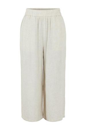 gemêleerde cropped high waist loose fit broek PCTONI HW CULOTTE ecru
