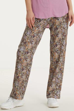 high waist loose fit broek met all over print zwart/multi