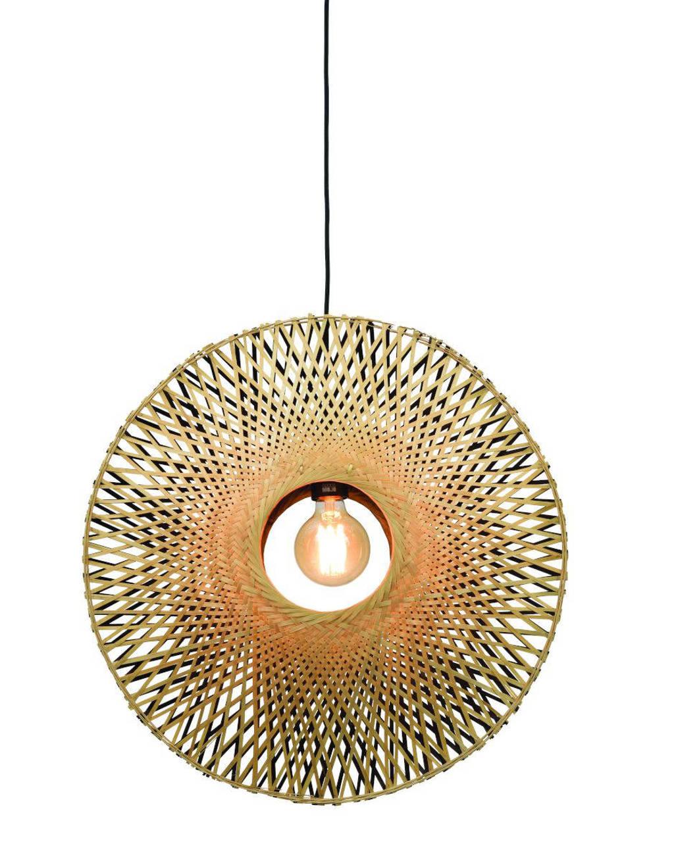 Good&Mojo Hanglamp Kalimantan (Ø60cm), Zwart, naturel