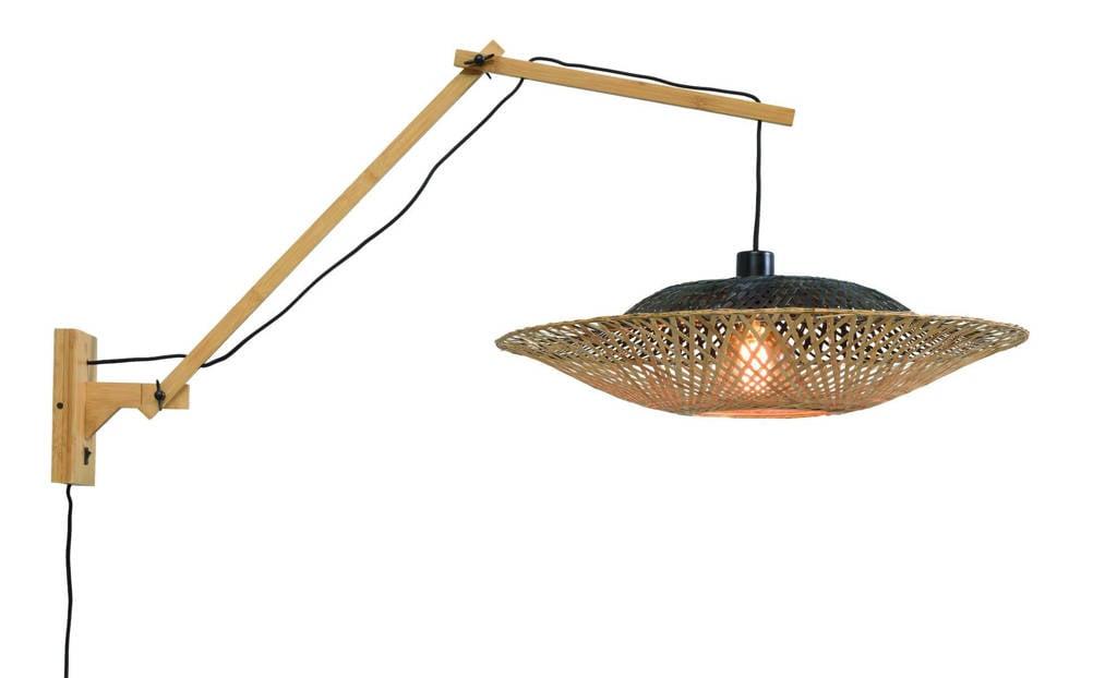 Good&Mojo wandlamp Kalimantan, Zwart, naturel