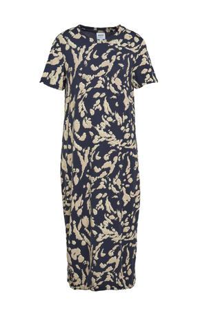 jurk VMGAVA met all over print donkerblauw/beige