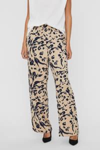 VERO MODA high waist loose fit broek VMHAILEY van gerecycled polyester beige/zwart, Beige/zwart