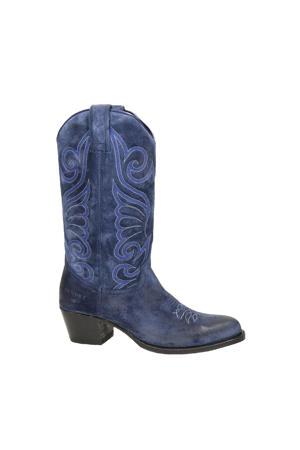 11627 Debora Flex  suède cowboylaarzen blauw
