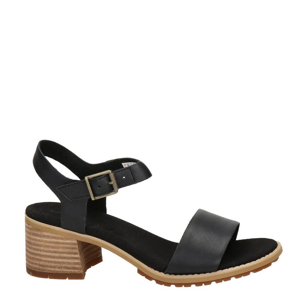 Timberland Laguna Shore  leren sandalettes zwart, Zwart