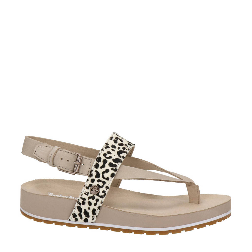 Timberland Malibu Waves  nubuck sandalen met dierenprint beige, Ecru