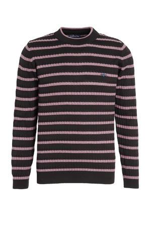 gestreepte trui zwart/roze
