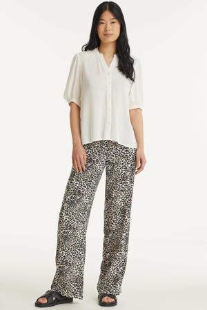 high waist loose fit palazzo broek VMSIMPLY met all over print zand/zwart
