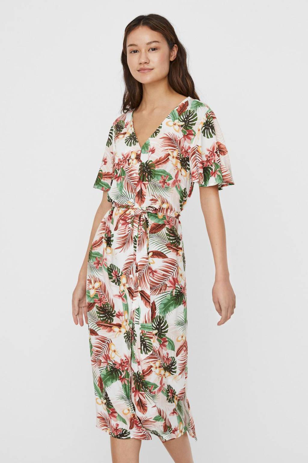 VERO MODA gebloemde jurk wit/roze/groen, Wit/roze/groen