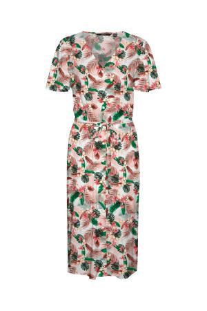 gebloemde jurk wit/roze/groen