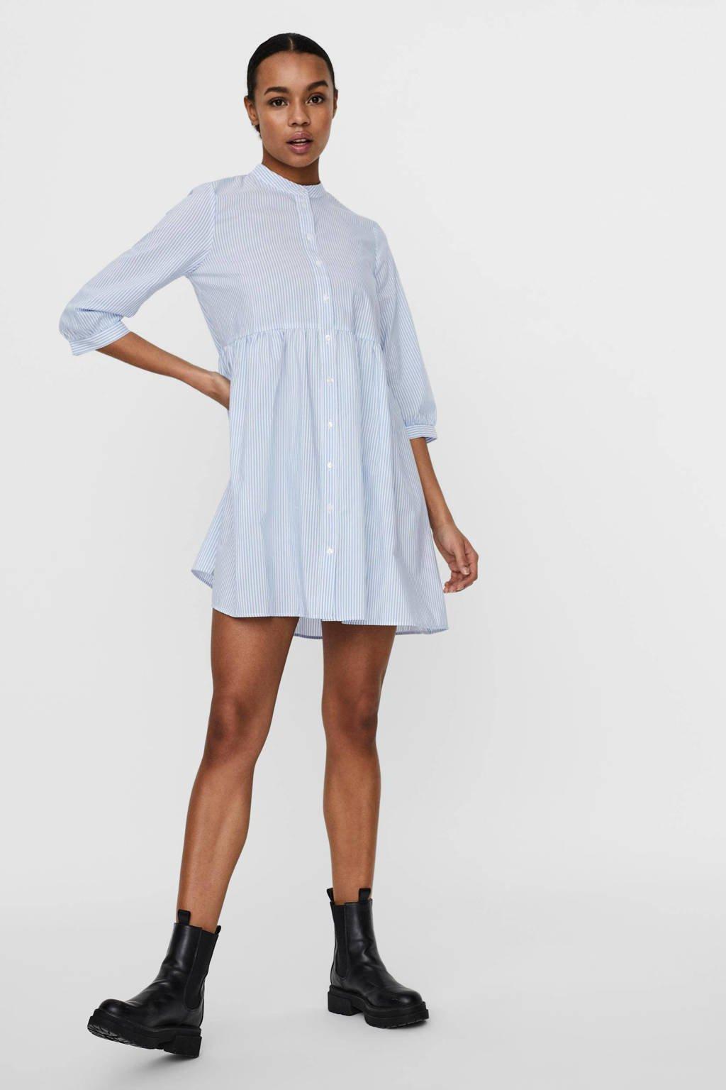 VERO MODA gestreepte blousejurk VMSISI lichtblauw/wit, Lichtblauw/wit