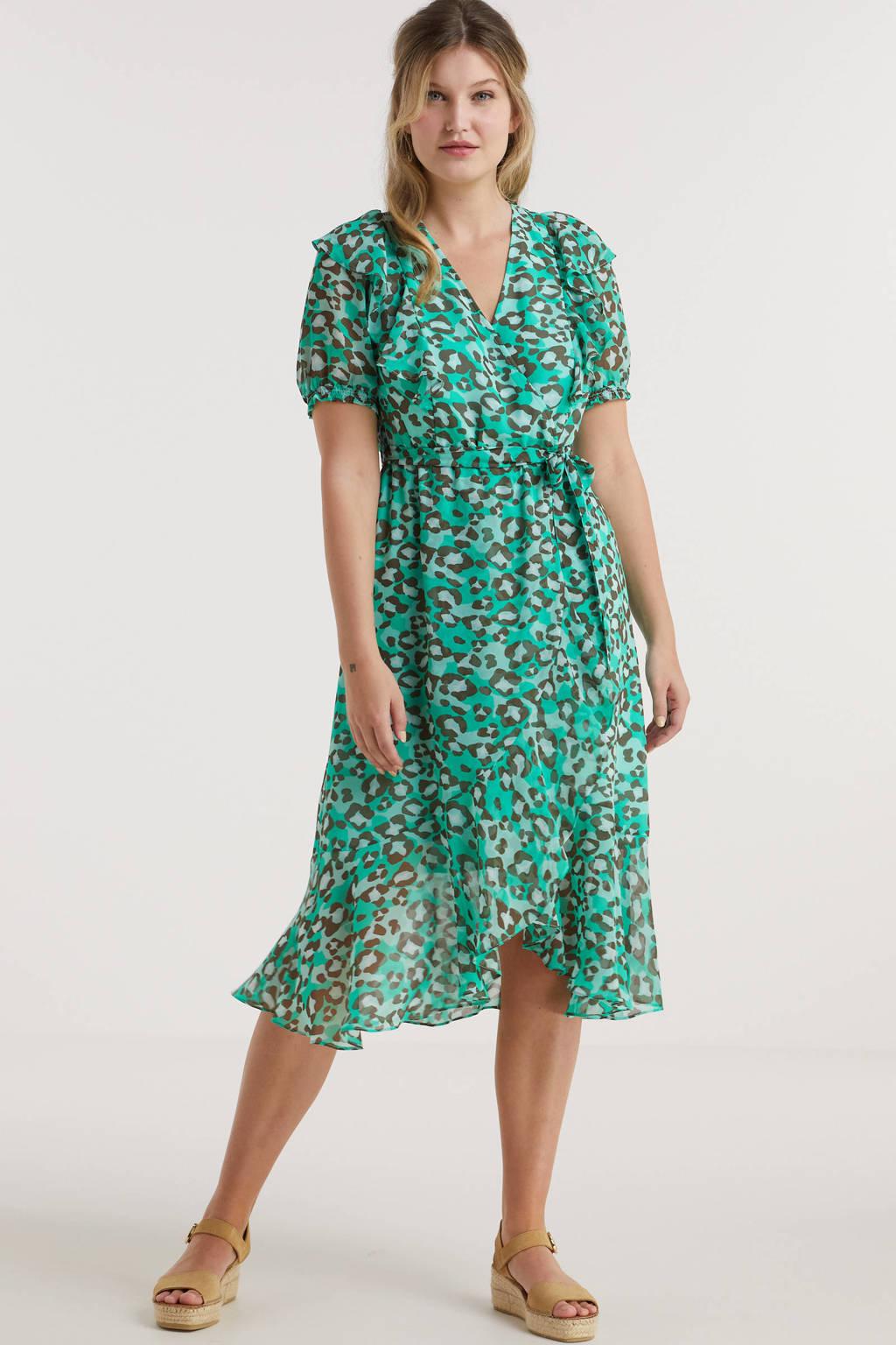 Miljuschka by Wehkamp wikkel-look jurk met ruches en panterprint groen, Groen/mint/zwart