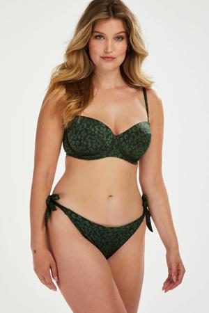 strik bikinibroekje Tonal met panterprint groen