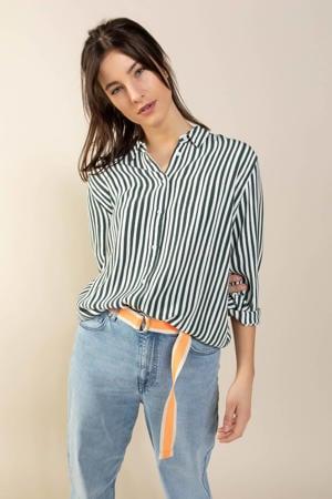 gestreepte blouse grijsgroen