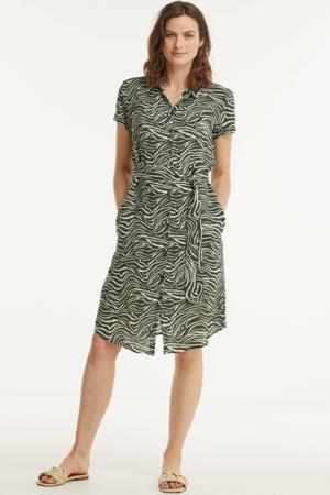 blousejurk met zebraprint en ceintuur groen