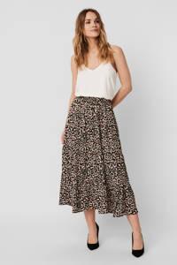 VERO MODA gebloemde rok VMSAGA van gerecycled polyester beige/zwart/roze, Beige/zwart/roze
