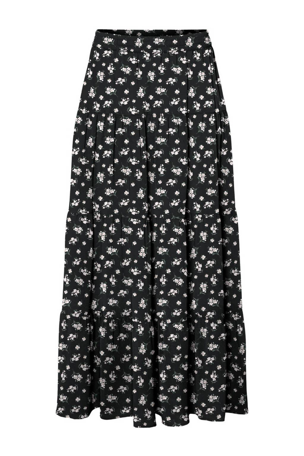 VERO MODA gebloemde rok VMSAGA van gerecycled polyester zwart, Zwart