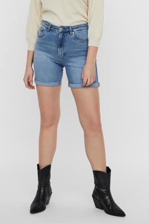 high waist jeans short VMJOANA met biologisch katoen light blue denim