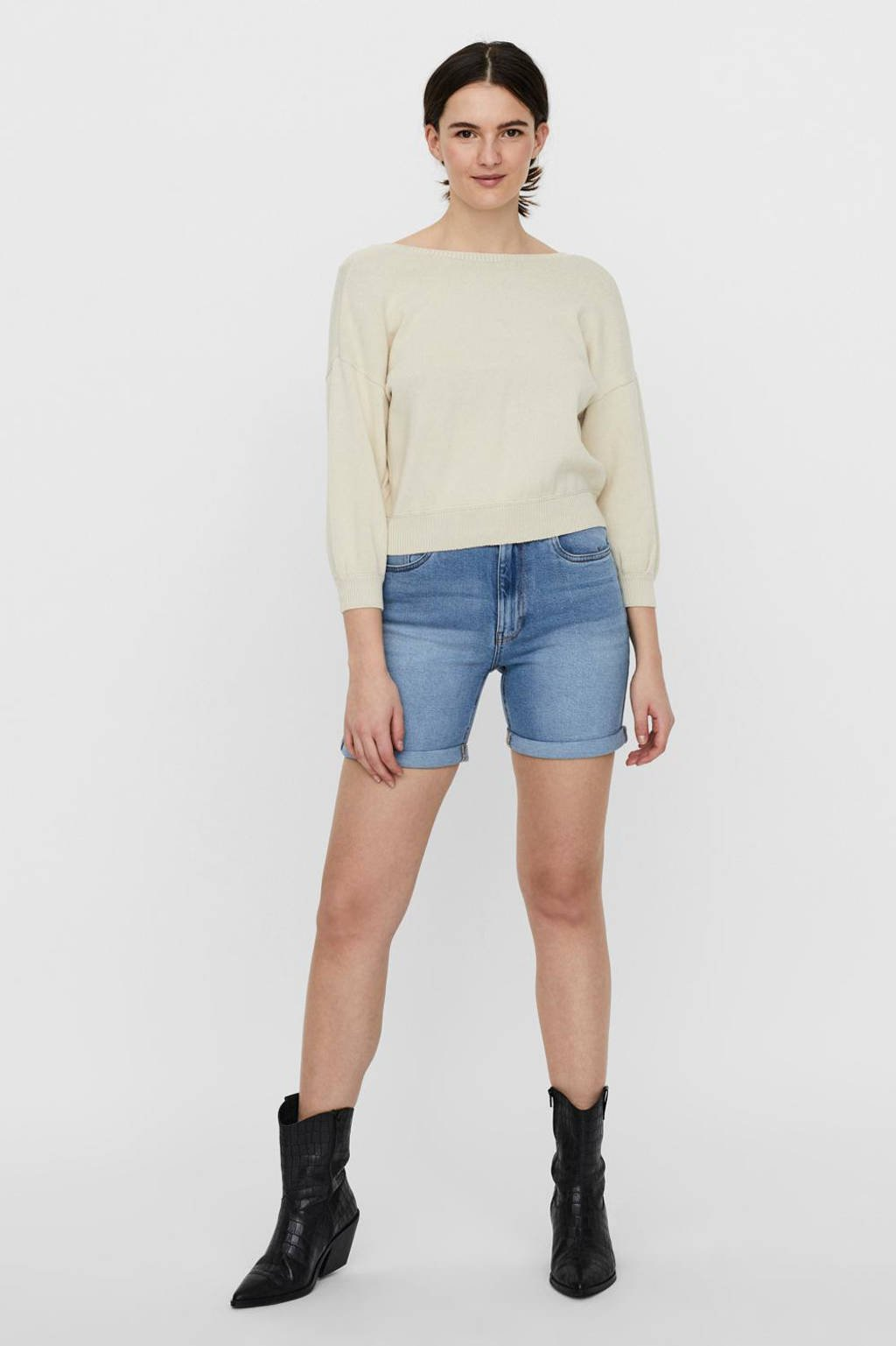 VERO MODA high waist jeans short VMJOANA met biologisch katoen light blue denim, Light blue denim