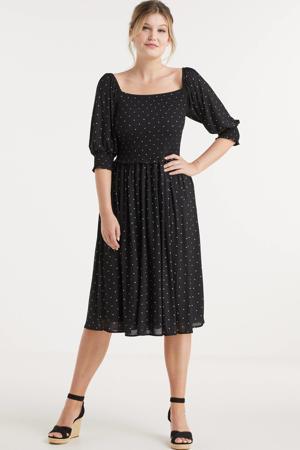 mesh jurk met smock en stippenprint zwart