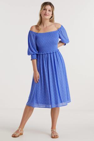 mesh jurk met smock en stippenprint blauw