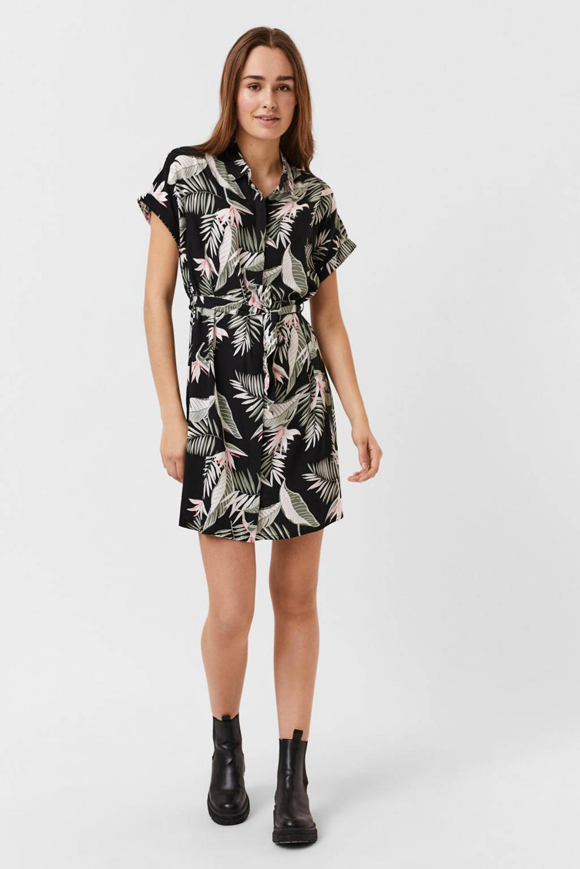 VERO MODA blousejurk VMSIMPLY  met all over print en ceintuur zwart/groen, Zwart/groen