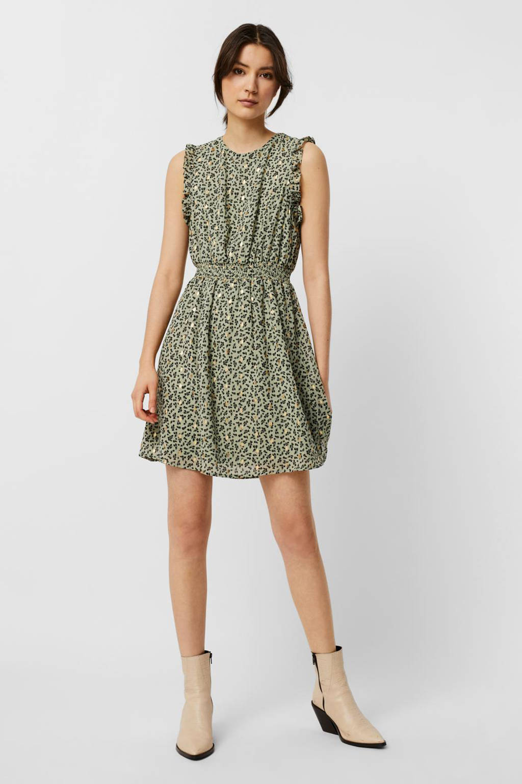 VERO MODA jurk VMPENNY met all over print en ruches groen, Groen