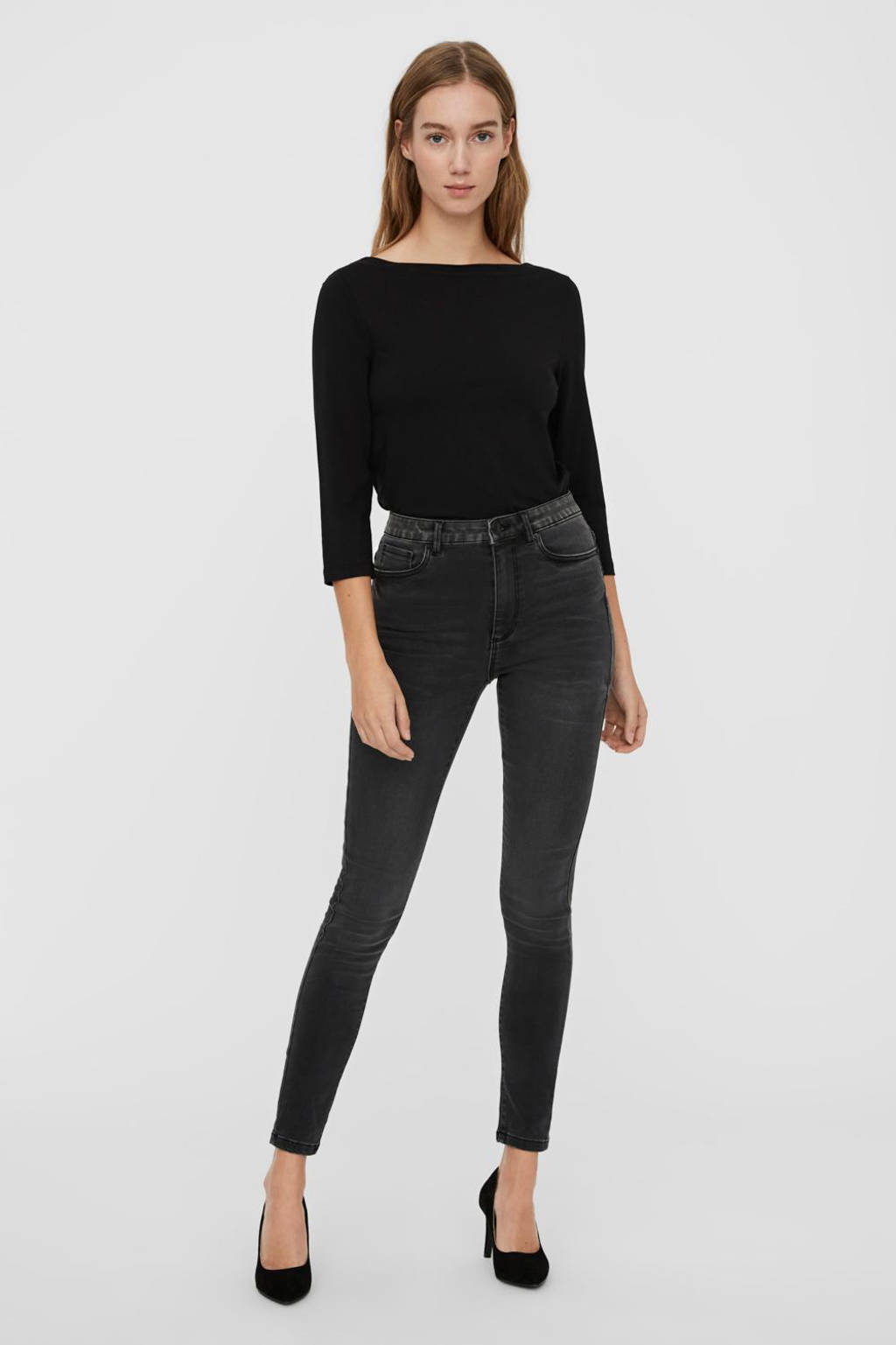 VERO MODA high waist skinny jeans VMSOPHIA  met biologisch katoen dark grey denim, Dark grey denim
