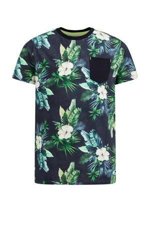 T-shirt met bladprint donkerblauw/groen