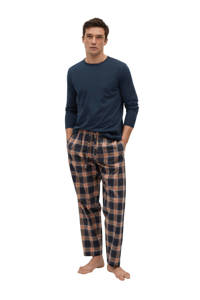 Mango Man pyjama met ruit donkerblauw/geel, Donkerblauw/geel
