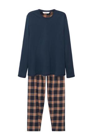 pyjama met ruit wit/blauw