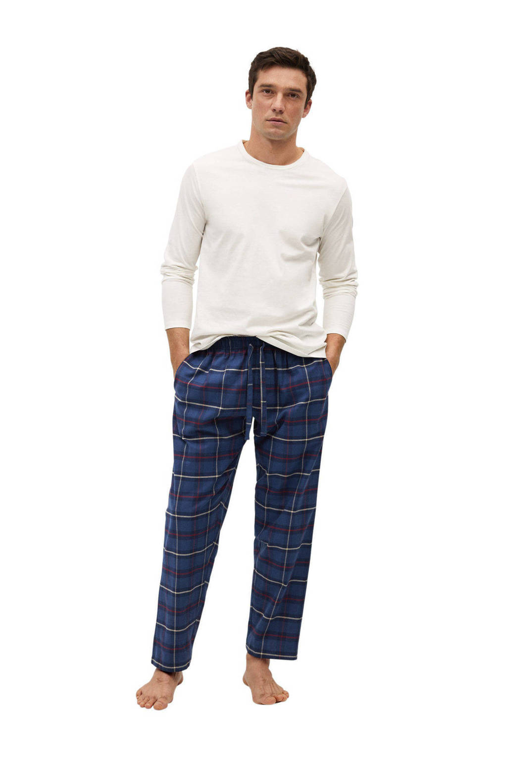 Mango Man pyjama met ruit wit/blauw, Wit/blauw