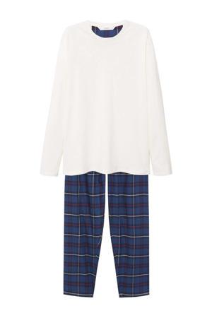 pyjama met ruit donkerblauw/geel