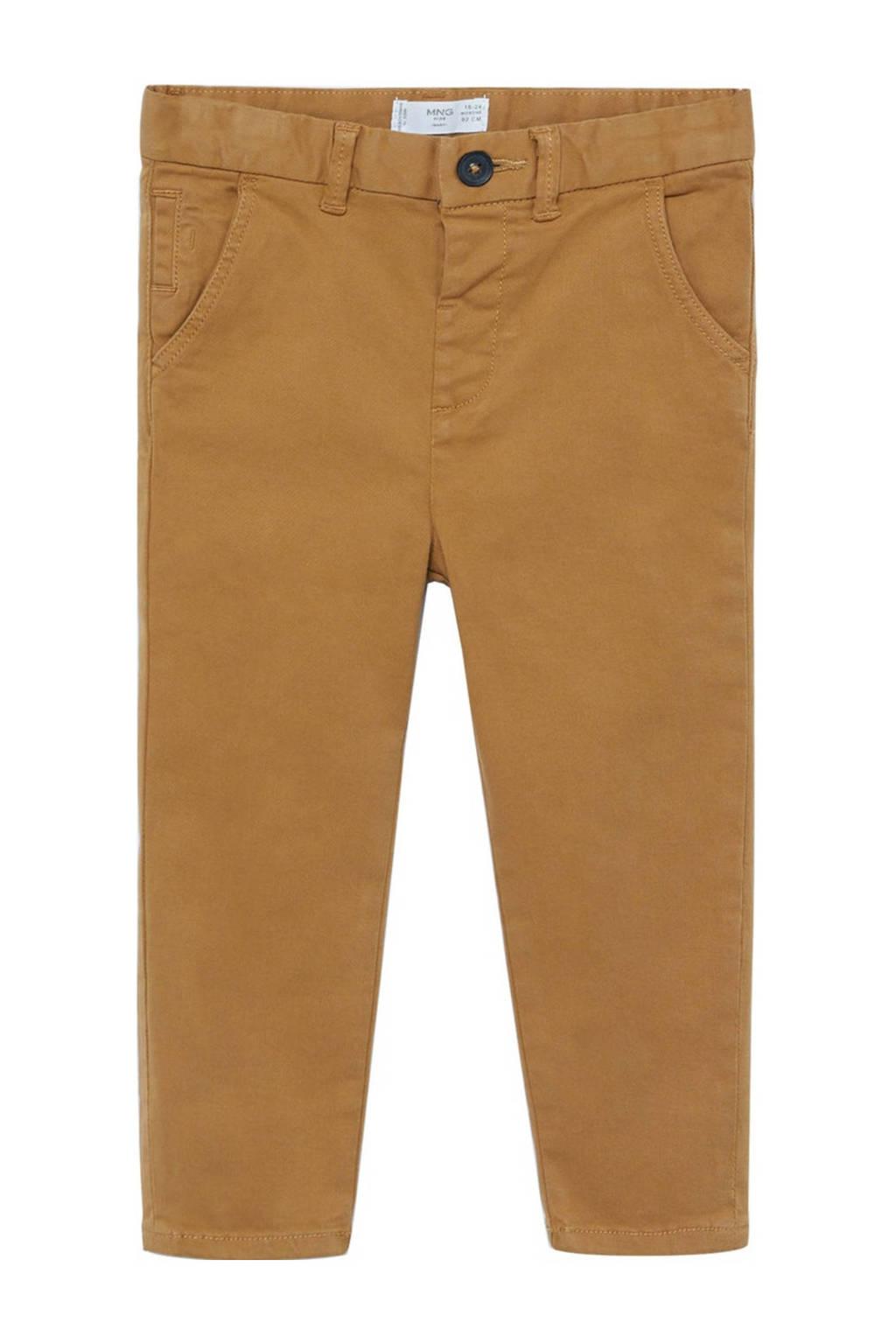 Mango Kids slim fit broek middenbruin, Middenbruin