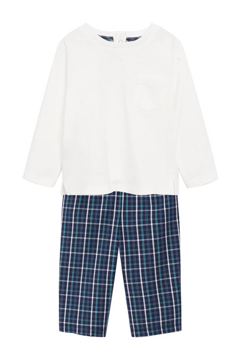 Mango Kids   pyjama wit/blauw, Donkerblauw/wit
