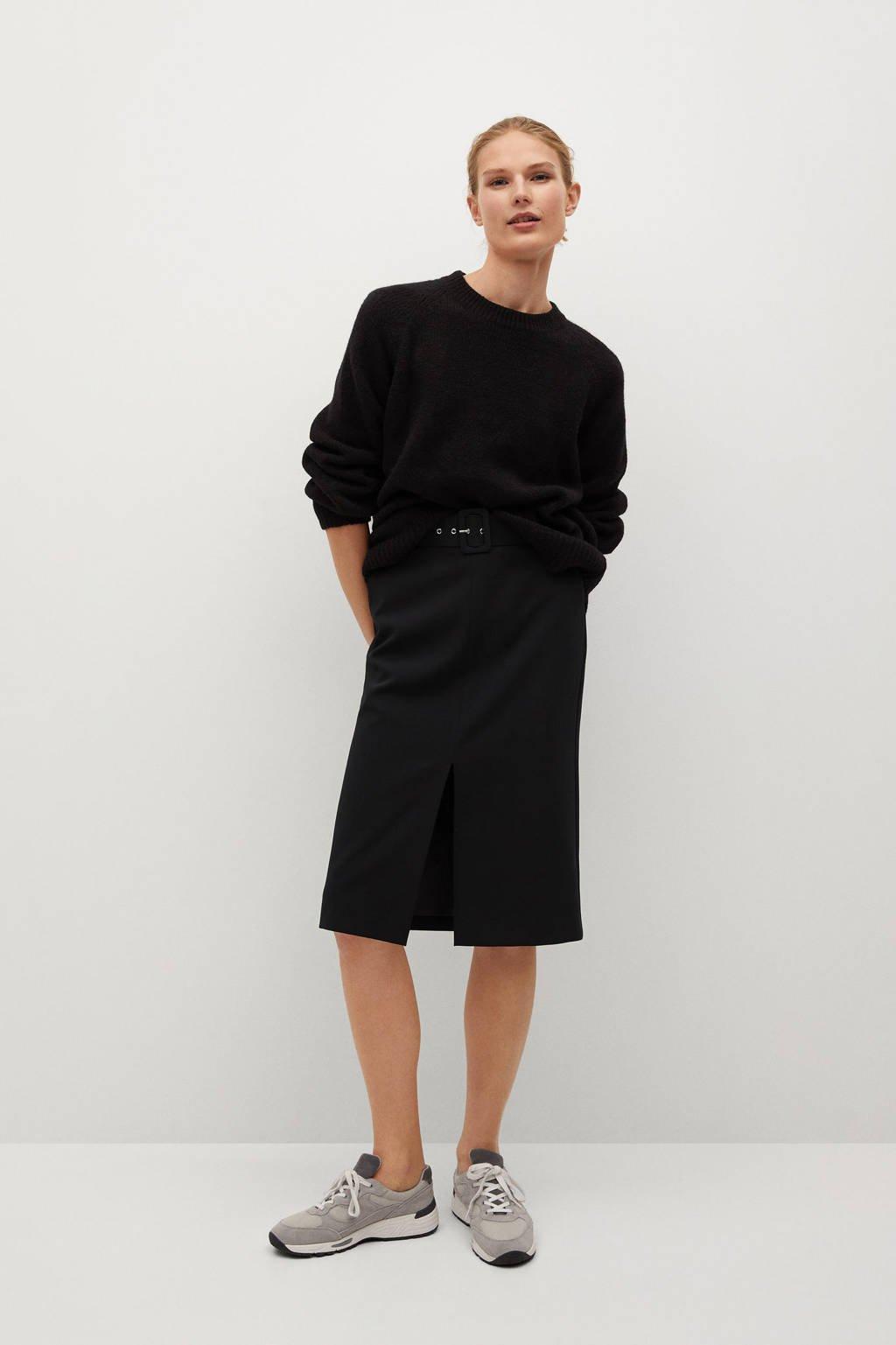 Mango rok met ceintuur zwart, Zwart
