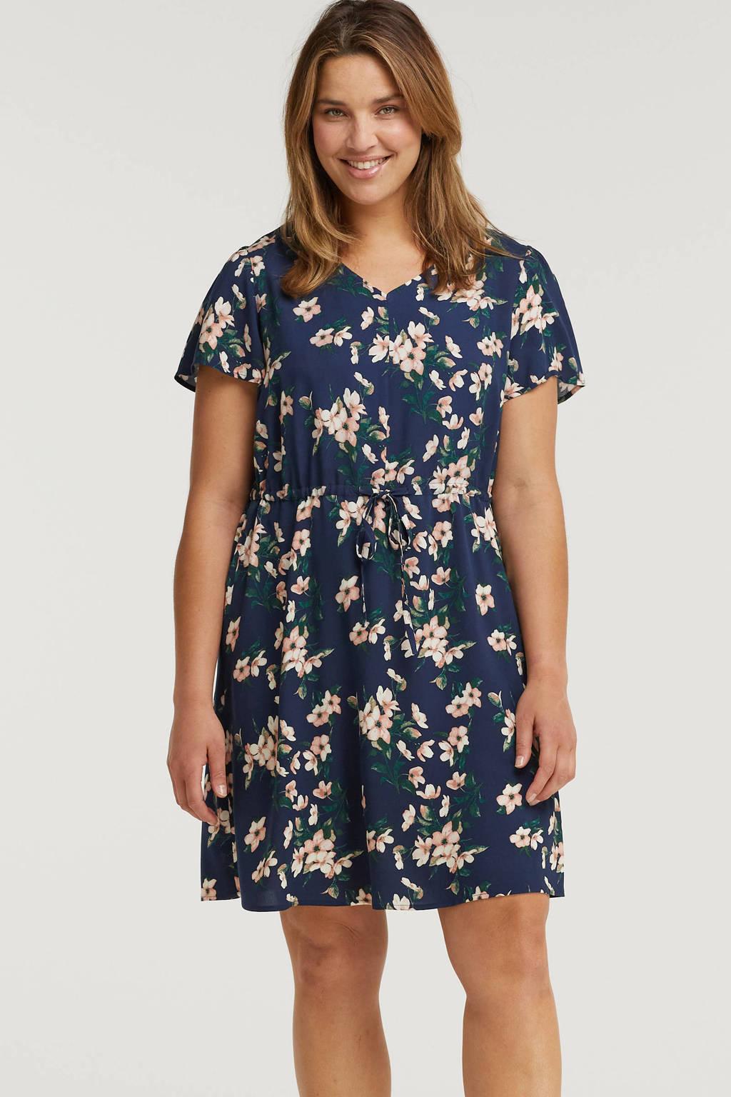 VERO MODA CURVE gebloemde jurk VMSIMPLY donkerblauw/lichtroze/donkergroen, Donkerblauw/lichtroze/donkergroen