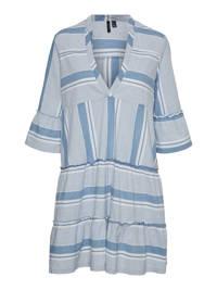 VERO MODA CURVE gestreepte trapeze jurk VMAKELA  met biologisch katoen lichtblauw/wit, Lichtblauw/wit