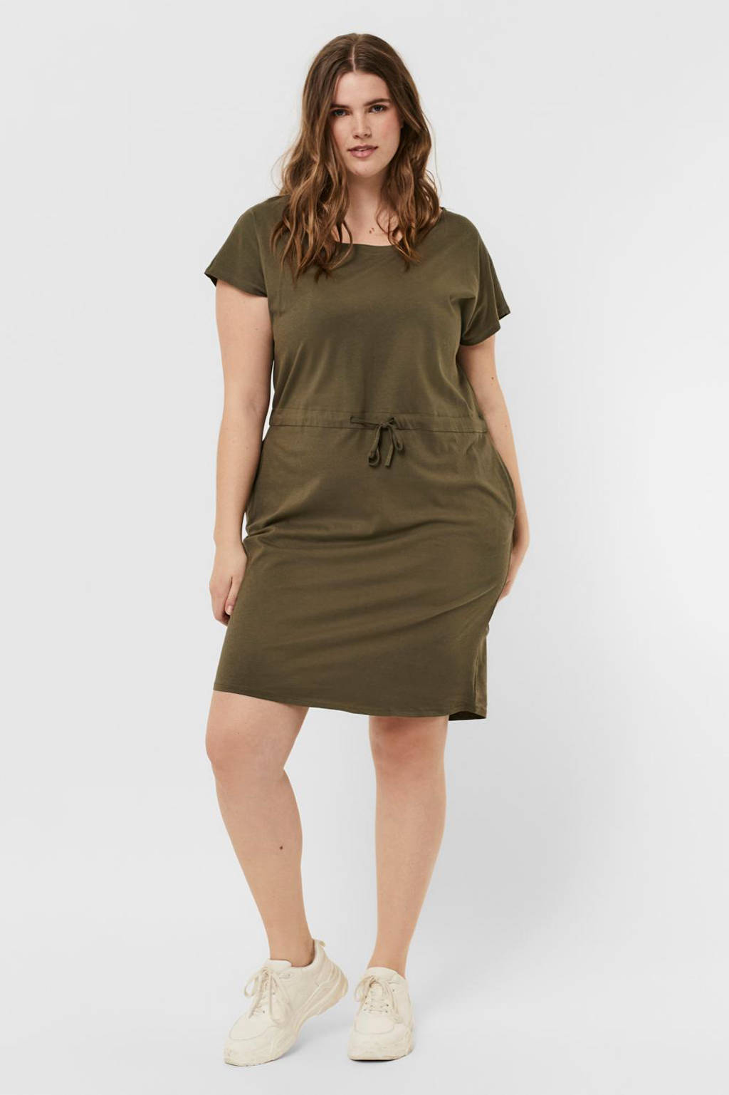 VERO MODA CURVE jurk VMAPRIL van biologisch katoen kaki, Kaki