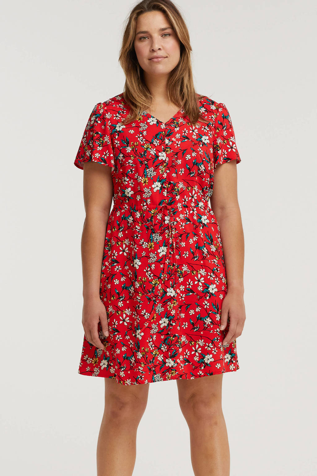 VERO MODA CURVE gebloemde jurk VMSIMPLY rood/donkergroen/lichtroze, Rood/donkergroen/lichtroze