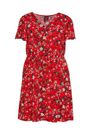 gebloemde jurk VMSIMPLY rood/donkergroen/lichtroze