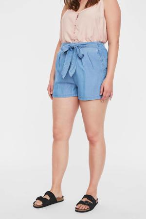 high waist wide leg korte broek VMMIA lichtblauw