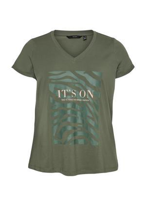 T-shirt VMIBBE met printopdruk donkergroen/groen
