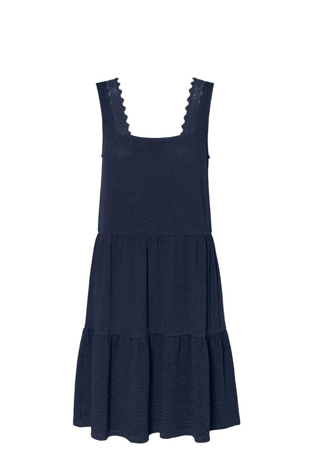 VERO MODA CURVE A-lijn jurk VMALICE van gerecycled polyester donkerblauw, Donkerblauw