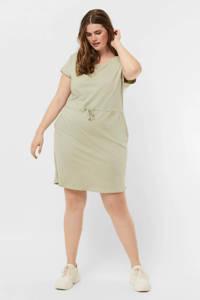VERO MODA CURVE jurk VMAPRIL van biologisch katoen lichtgroen, Lichtgroen