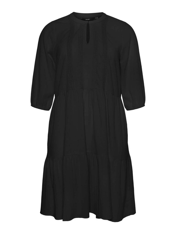 VERO MODA CURVE A-lijn jurk VMMANA van biologisch katoen zwart, Zwart