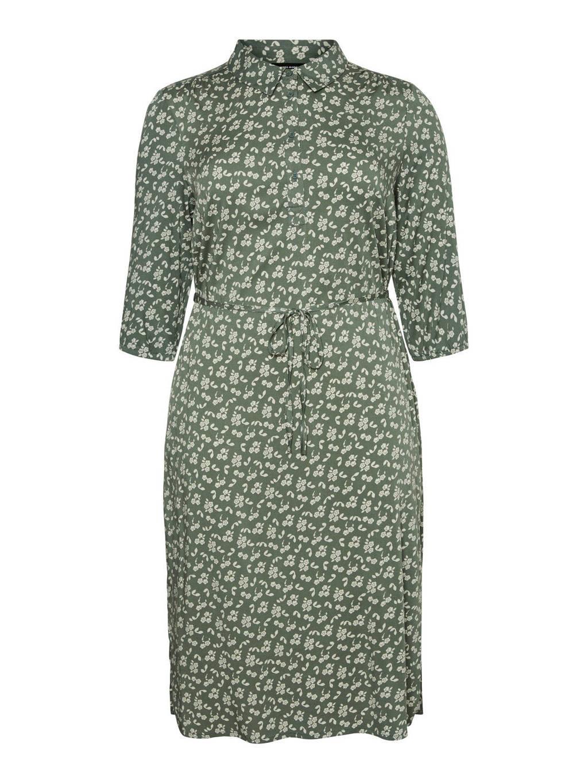 VERO MODA CURVE blousejurk VMMARIK met all over print groen/wit, Groen/wit